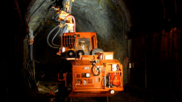 Employee operating underground bolting equipment at the Montanore site. Credit: Mines Management.