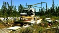 A helicopter at the Martiniere gold property in Quebec's Abitibi region. Credit: Balmoral Resources.