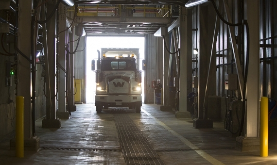 A truck ships ore from the Cigar Lake mine to Areva's McClean Lake mill. Credit: Cameco