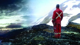 A Hy-Tech diamond driller takes in the sunrise at Pretium Resources' Brucejack gold project. Credit: Canada Wild Productions.