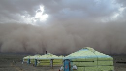 A sandstorm at the Bronze Fox camp 140 km from the Oyu Tolgoi copper-gold mine in Mongolia. Credit: Kincora Copper.