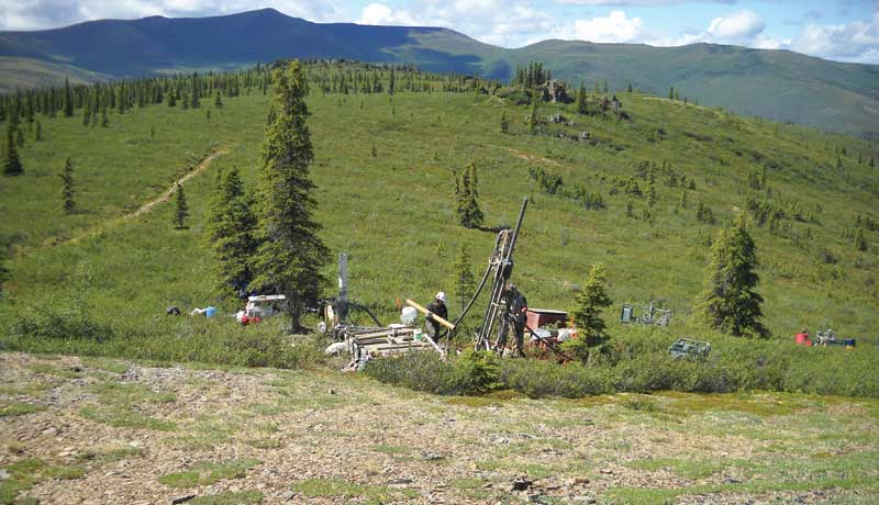 Drillers at Independence Gold's Boulevard gold project in the Yukon's White Gold region, 135 km south of Dawson City. Credit: Independence Gold.