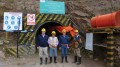 In front of the portal at Lupaka Gold's Invicta gold-silver-copper-lead-zinc project in Peru, from left: Joe Archibald, Pandion Mine Finance president; Julio Castenada, Lupaka country manager; Tim Swendseid, RPM Engineering president of consulting for the Americas; and Gordon Elis, Lupaka president and CEO. Credit: Lupaka Gold.