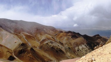 Looking northeast at a dacite target 4,700 metres above sea level beside a ridge of silicified breccias at Golden Arrow Resources' Antofalla silver-lead-zinc project in Catamarca province, Argentina. Credit: Golden Arrow Resources.