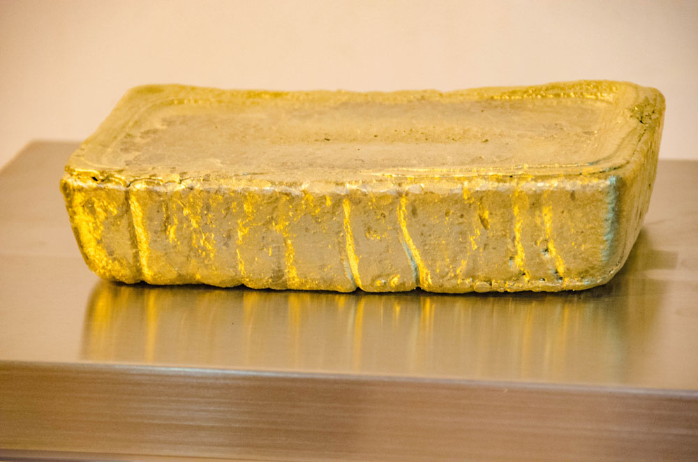 A gold bar weighing roughly 4 oz. from the Asanko gold mine. Credit: Asanko Gold.