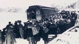 Arriving at the Cobalt Station, Ontario, in the early 20th century.