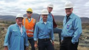 Largo Resources' team in Brazil from left: Kurt Menchen (advisor),  Mauricio Coletti (mine manager), Paulo Misk (president of operations, Brazil), Andy Campbell (vice president, exploration), and Mark Smith (president and CEO). Credit: Salma Tarikh