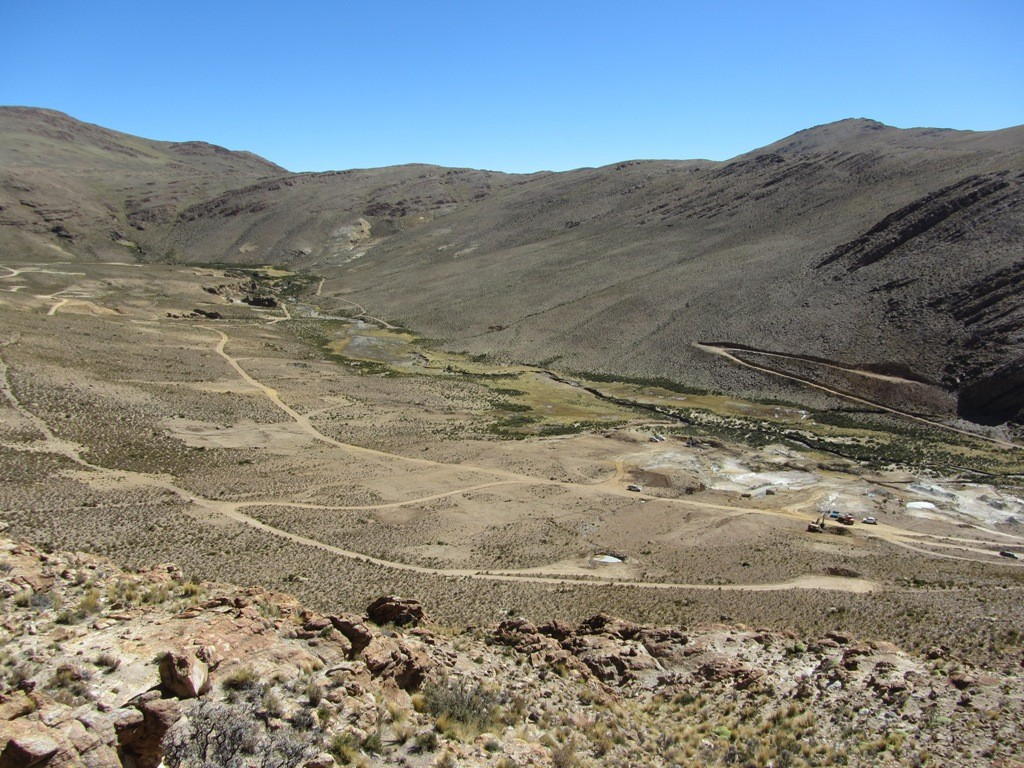 View of the Silver Mantos (left) and Socavon areas of the Chinchillas project in Argentina's Jujuy province. Credit: Golden Arrow Resources.