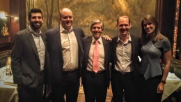 At the Young Mining Professionals' (Toronto branch) Distinguished Speakers Event at Hy's Steakhouse in Toronto on June 15, from left: Michael Long, Stephen Stewart, Rob McEwen, Michael Woeller and Sophia Harquail. Credit: YMP Toronto.