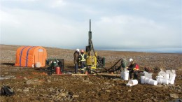 Reverse-circulation drilling at the CH-7 kimberlite at Peregrine Diamonds' and BHP Billiton's Chidliak project, in Nunavut. Credit: Peregrine Diamonds.