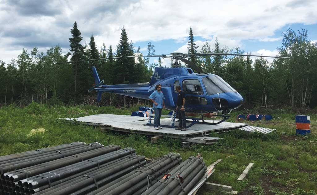 Balmoral Resources CEO Darin Wagner (left) at the Martiniere gold project, 110 km west of Matagami in Quebec. Credit: Balmoral Resources.
