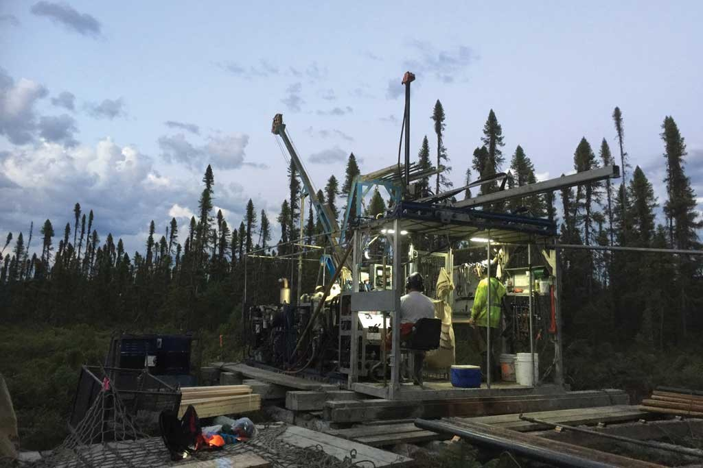 Drillers at Balmoral Resources' Martiniere gold property in Quebec. Credit: Balmoral Resources.