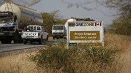 Entering the Bomboré project site in Burkina Faso, West Africa. Credit: Orezone Gold.
