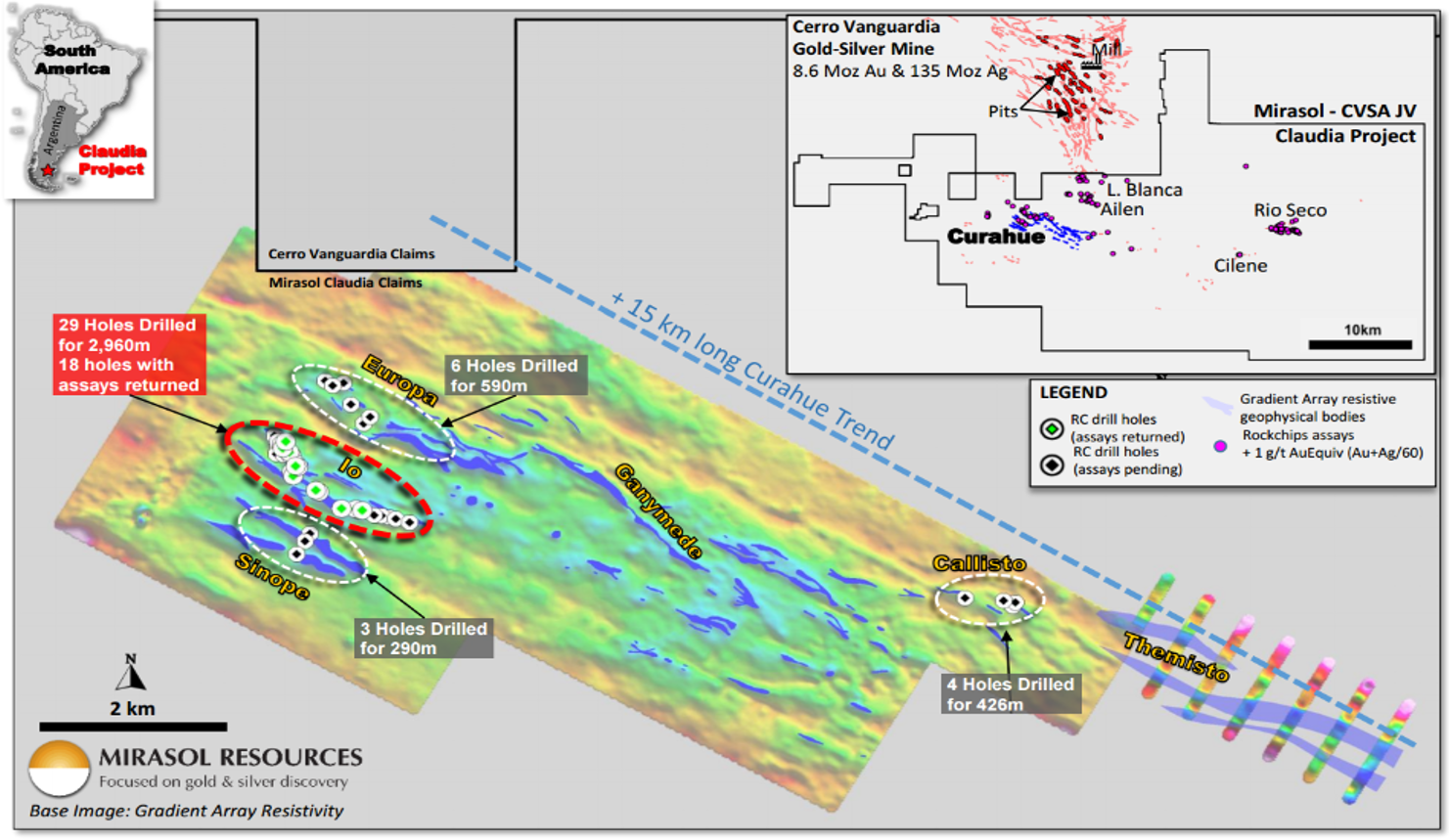 Gradient array geophysics surveys at Claudia have defined a 15 km-long prospective zone for gold-silver mineralization. Credit: Mirasol Resources