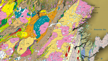 A snapshot of Newfoundland's regional geology map. Credit: Newfoundland Department of Mines and Energy, Geological Survey.