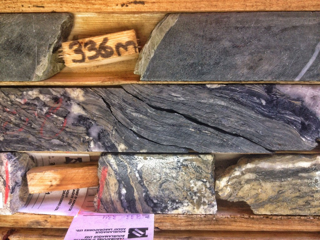 A mylonite from Integra Gold's Triangle deposit intercepted in drill core. Credit: Lesley Stokes.