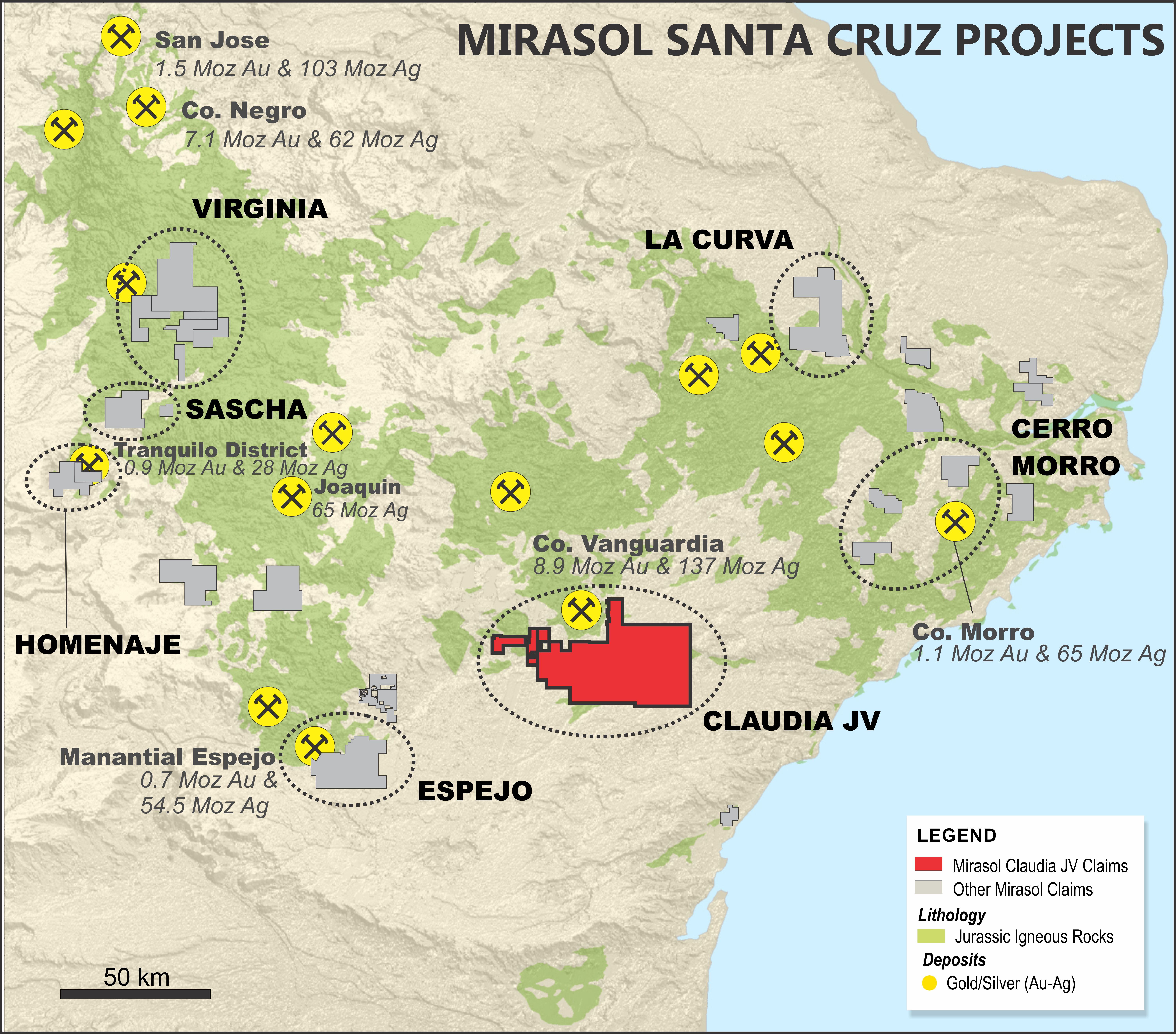 Project location map of partners Mirasol Resources and AngloGold Ashanti's Claudia project. Credit: Mirasol Resources