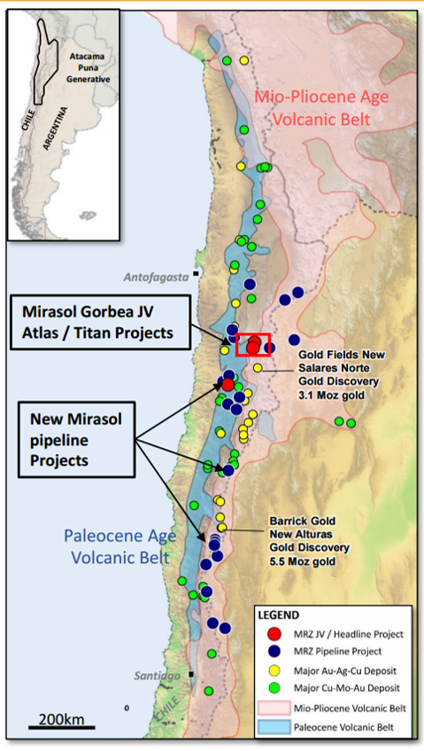 Project location map for partners Mirasol Resources and Yamana Gold's Gorbea project in northern Chile. Credit: Mirasol Resources.