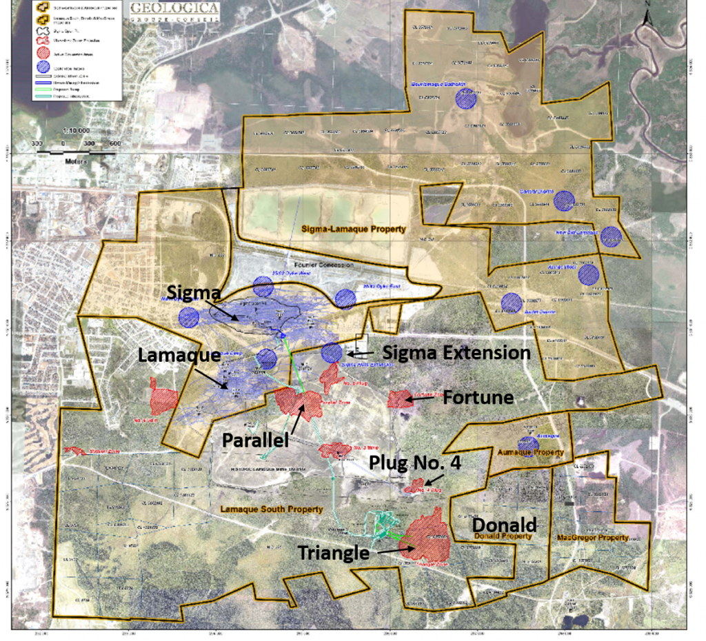 Location map showing the different deposits and targets at Integra Gold's Lamaque South property. Figure is modified to highlight deposits mentioned in this article. Credit: Integra Gold.