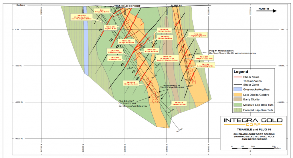 Cross section of the Triangle and Plug No. 4 gold deposits with latest drill results. Credit: Integra Gold.