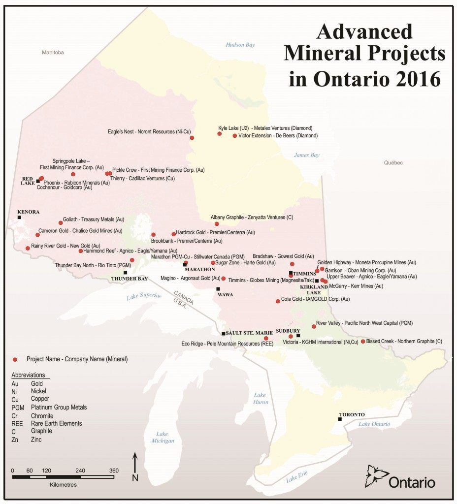 Advanced exploration projects in Ontario in 2016. Credit: Ontario Ministry of Northern Development and Mines.