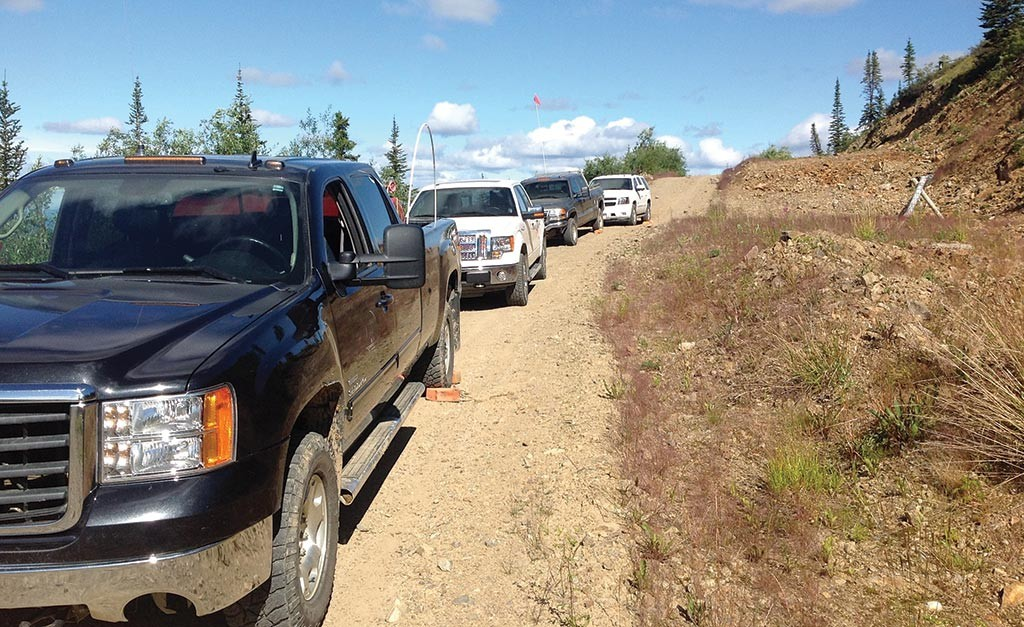 Driving around the proposed Eagle mine site at Dublin Gulch. Photo by Matthew Keevil.