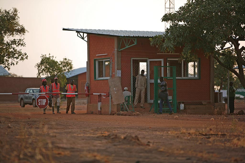 Workers at the entrance to Orezone Gold's Bomboré gold project in Burkina Faso in 2015.Credit: Orezone Gold.