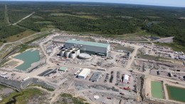 An overview of the plant under construction at New Gold's Rainy River gold mine in northwestern Ontario.Credit: New Gold.