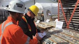 Workers examining core at Osisko Mining's Windfall gold property, 200 km northeast of Val-d'Or, Quebec. Credit: Osisko Mining.