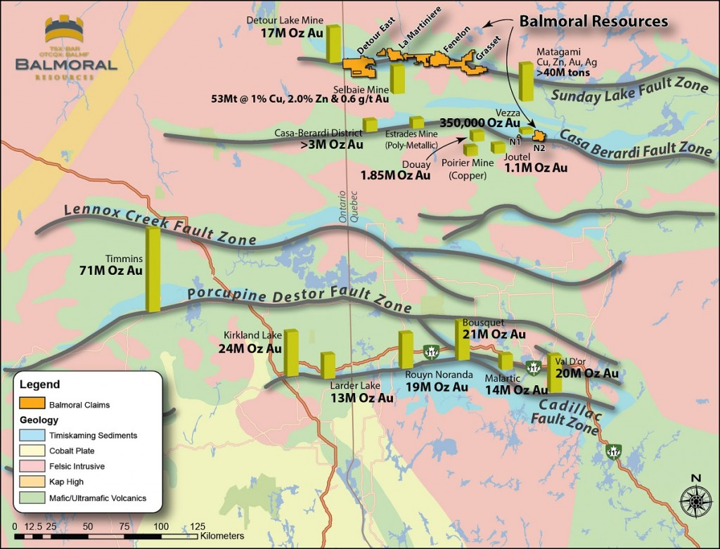Location of major gold deposits relative to regionally-trending structures within Quebec and Ontario's Abitibi greenstone belt. Credit: Balmoral Resources.