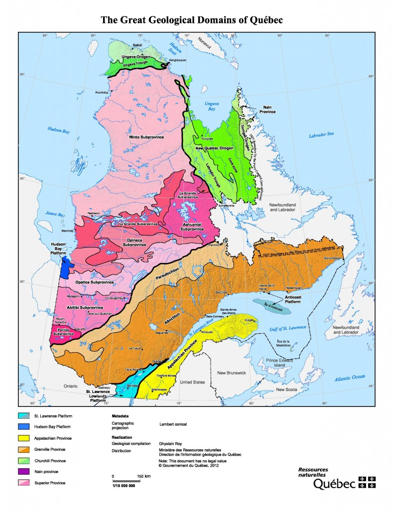 The geological terranes of Quebec. Credit: Quebec's Ministry of Energy and Natural Resources.