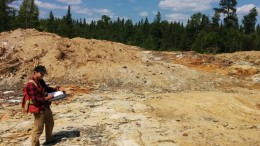 Wallbridge's Adam Coulter maps the Parkin project. Credit: Wallbridge Mining.