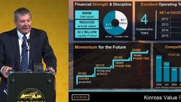 Kinross Gold CEO Paul Rollinson speaking at the Denver Gold Forum in Colorado in September 2016.