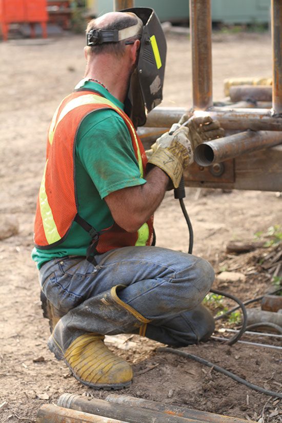 A welder working at Noront Resources' Esker exploration camp in Ontario's Ring of Fire region. Credit: Noront Resources.