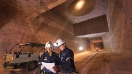 Workers in an underground storage area at Potash Corp. of Saskatchewan's Allan potash mine, 50 km southwest of Saskatoon, where Altius Minerals holds a royalty. Credit: Potash Corp. of Saskatchewan.