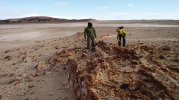Technical personnel collect samples at Mariana Resources' Los Cisnes gold-silver property in Argentina's Santa Cruz province. Credit: Mariana Resources.