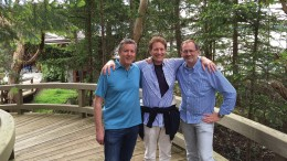 Mining entrepreneurs (from left) Ross Beaty, Tom Kaplan and Bob Quartermain at Annie's Garden, a rainforest field study centre in California, in 2015. Credit: Pan American Silver.