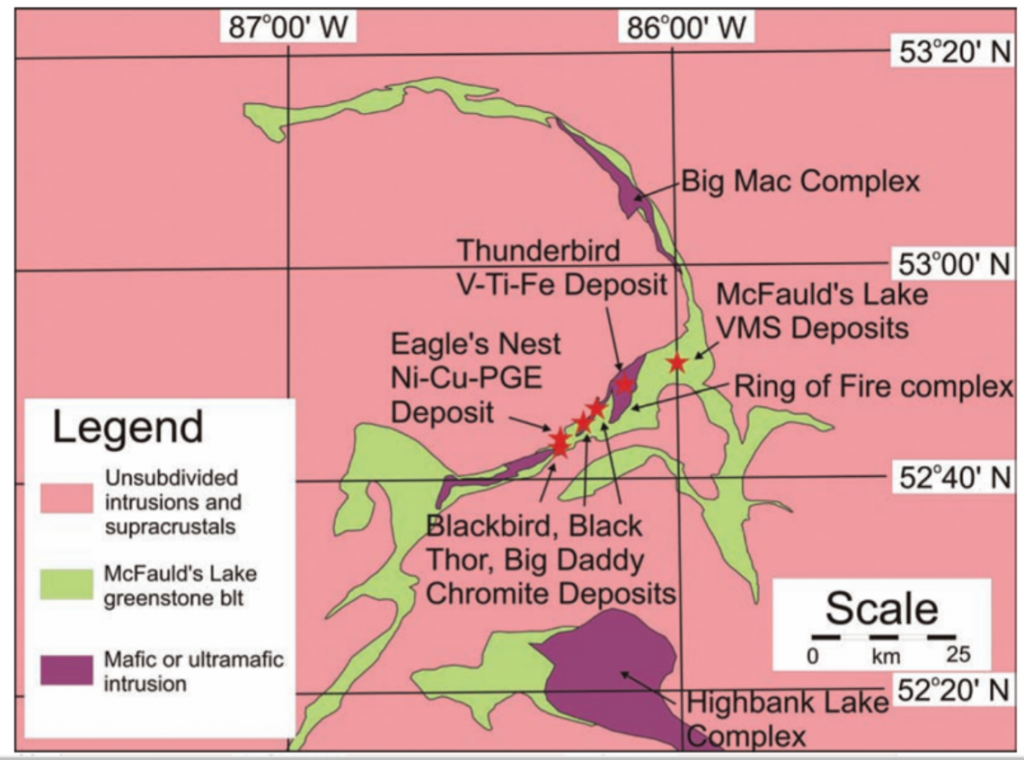 Simplified geology and location of deposits in northern Ontario's Ring of Fire metal district. Credit: Mungall et al.