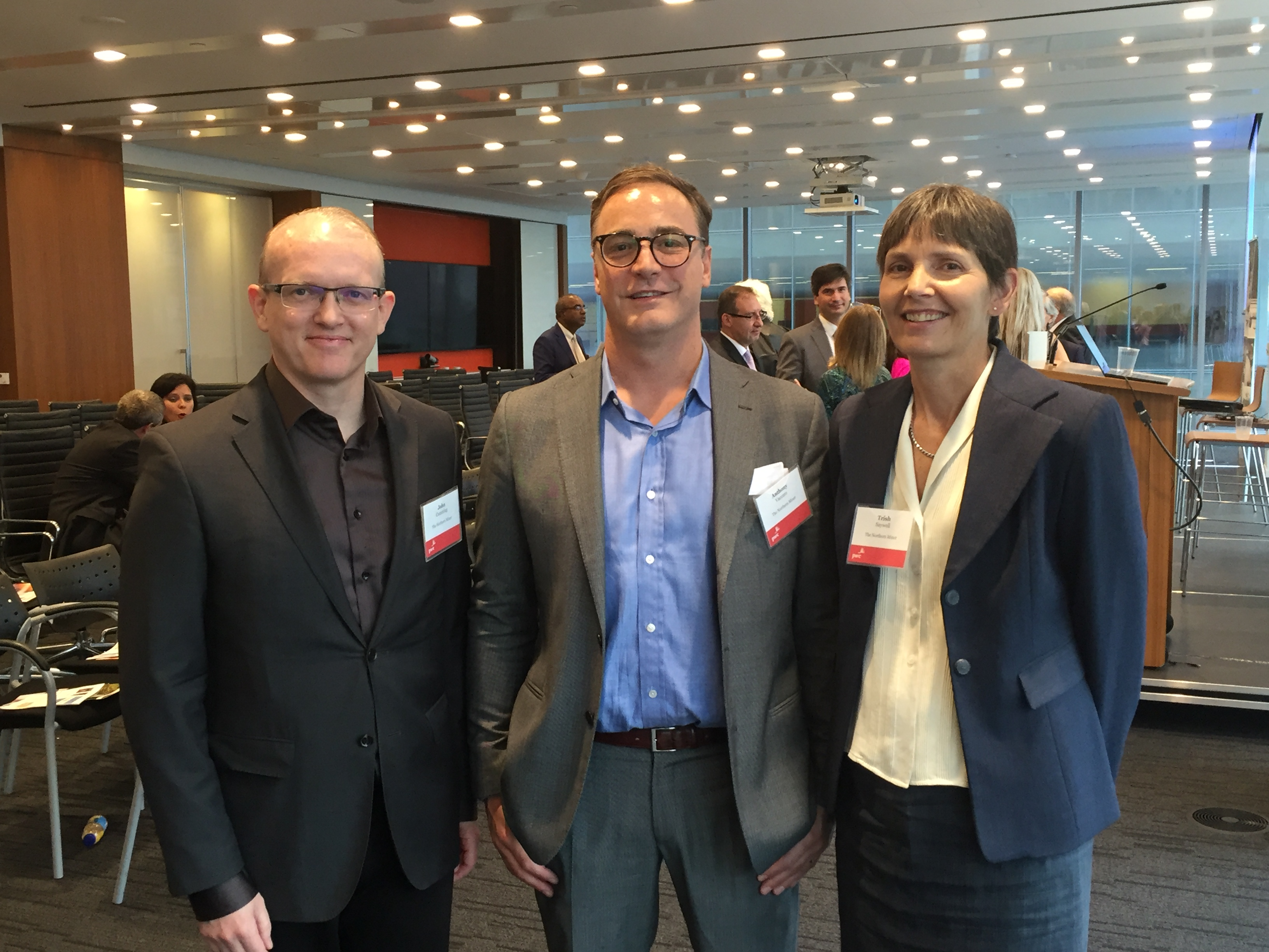 """Northern Miner hosts at the Miner's """"Focus on Argentina"""" symposium at PWC Canada's offices in Toronto in September, from left: John Cumming, editor-in-chief; Anthony Vaccaro, publisher; and Trish Saywell, senior staff writer. Photo by Salma Tarikh."""