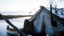 "Camp on the bank of ""Dana River"" (now officially named Riviere Pauschikushish Ewiwach) in the Evans Lake area of northwestern Quebec during the summer of 1958. Photo by Harold Linder."