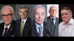 The Canadian Mining Hall of Fame 2017 inductees. From left: James Carter, Rob McEwen, Donald McLeod, William (Steve) Vaughan and John Zigarlick. Jr.