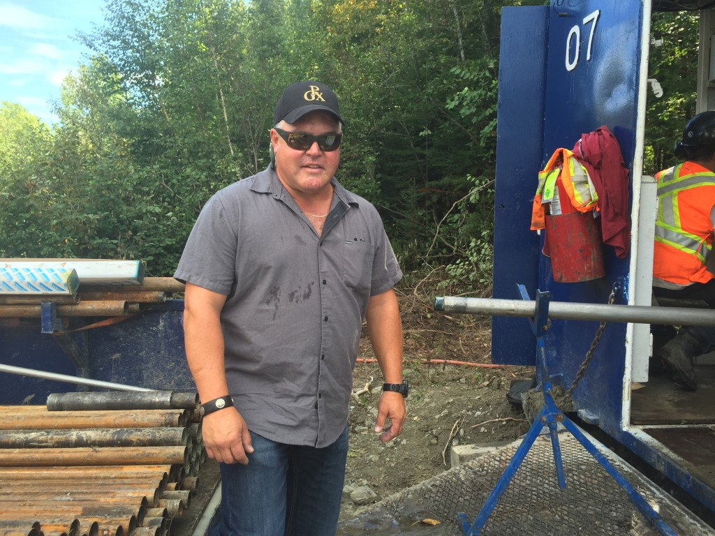 Prosper Gold's CEO Peter Bernier at the drill rig at the Ashley gold project in Timmins, Ont. Credit: Salma Tarikh