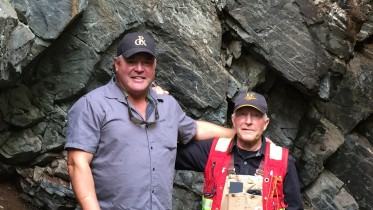 Prosper Gold's CEO Peter Bernier and vice-president of exploration Dirk Tempelman-Kluit stand in front of Vein No. 1 on the Ashley gold project in Timmins, Ont. Credit: Salma Tarikh