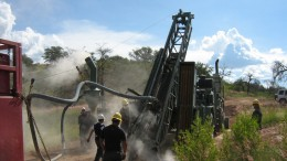 Drillers at work at Corex Gold's Santana gold property in northern Mexico. Credit: Corex Gold.