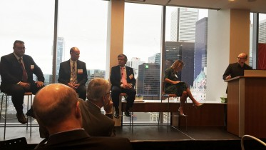 "At The Northern Miner's ""Focus on Argentina"" symposium at PwC Canada's offices in Toronto in September, from left: Ricardo Martinez, director and partner at Argentina Minera SA; Richard Spencer, president and CEO of U3O8 Corp.; Rob McEwen, chairman and CEO of McEwen Mining; France M. Tenaille, partner, co-Leader for Latin America at Gowling WLG; and John Cumming, editor-in-chief of The Northern Miner. Photo by Salma Tarikh."