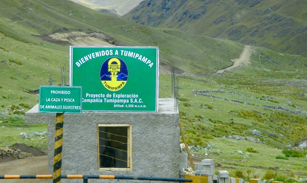 The road entrance to Dynacor Gold Mines' Tumipampa gold-copper project, 500 km southeast of Lima. Credit: Dynacor Gold Mines.
