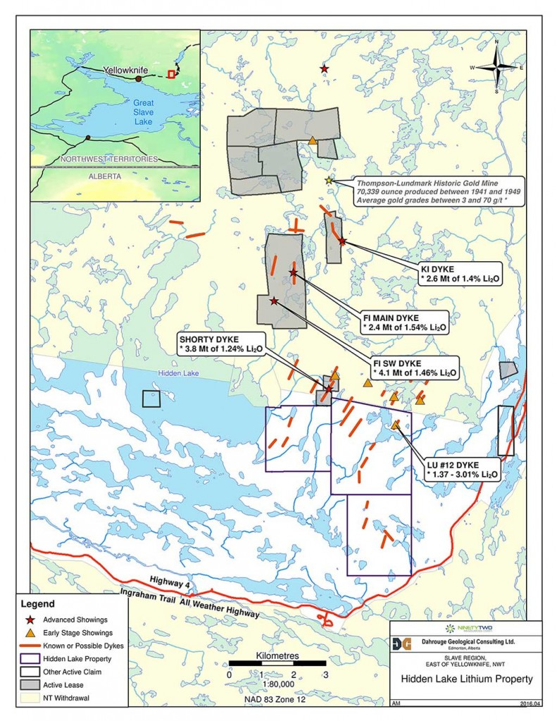 A map of 92 Resources Corp.´s Hidden Lake lithium property in the Northwest Territories. Credit: 92 Resources Corp.