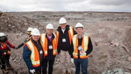 De Beers Canada CEO Kim Truter with Mountain Province Diamond's largest shareholder Dermot Desmond, Mountain Province president and CEO Patrick Evans and director Jonathan Comeford at the Gahcho Kue mine.