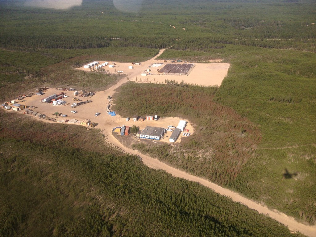 Aerial view of Fission Uranium's Patterson Lake South camp in Saskatchewan's Athabasca Basin. Credit: Lesley Stokes.