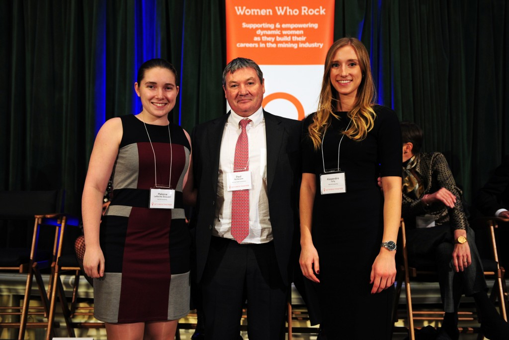 At Women Who Rock's Auction for Action in early 2016, from left: Mélanie LaRoche-Boisvert; Paul Rollinson, CEO of Kinross Gold; Alexandra Foty. Credit: Women Who Rock.